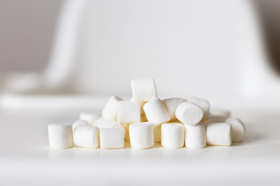 Pile of dry marshmallows