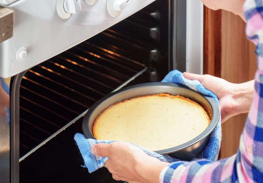 Taking cheesecake out of oven