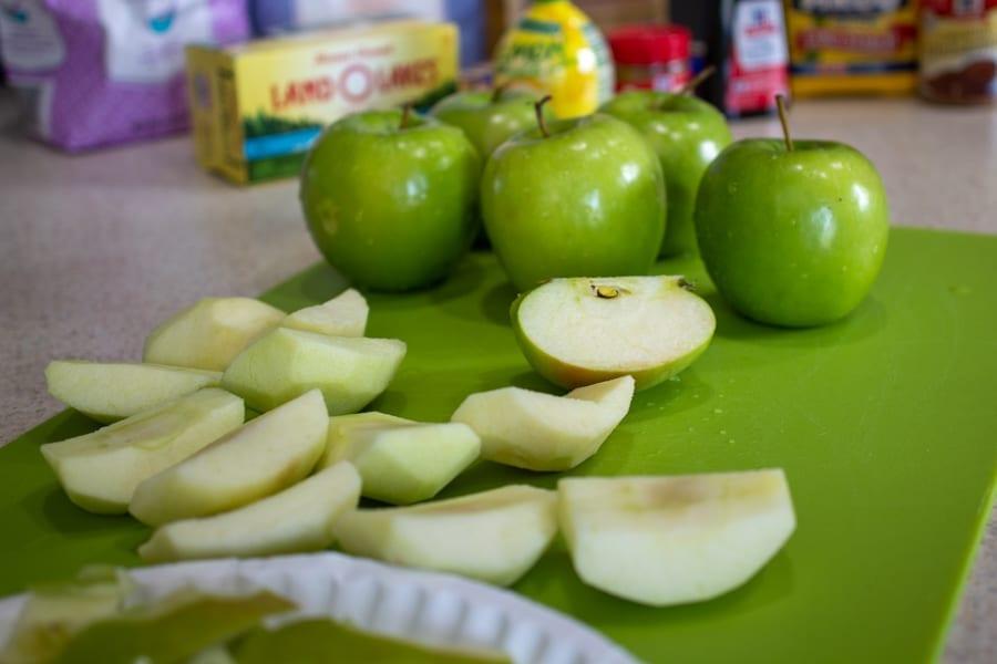 Chopping Apples for Caramel Apple Streusel Pie