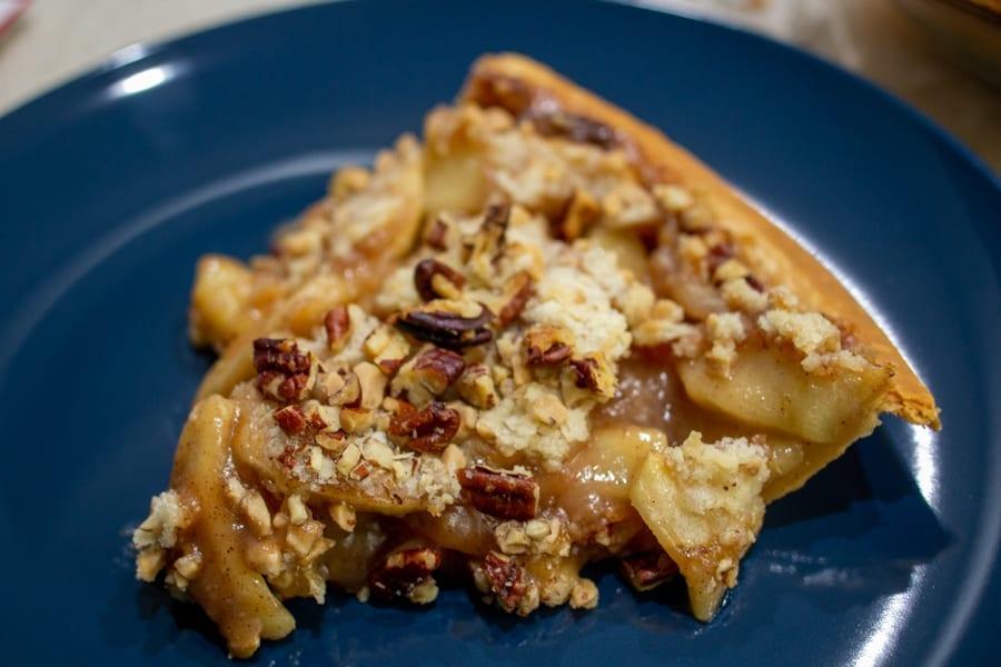 Slice of Caramel Apple Streusel Pie