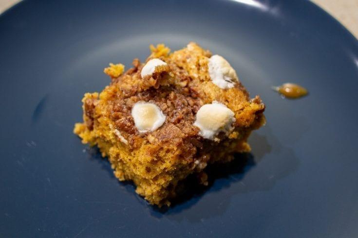 Slice of Pumpkin Pecan Cobbler with Marshmallows