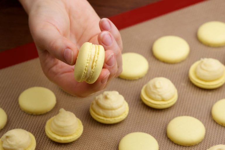 Macarons on Baking Mat
