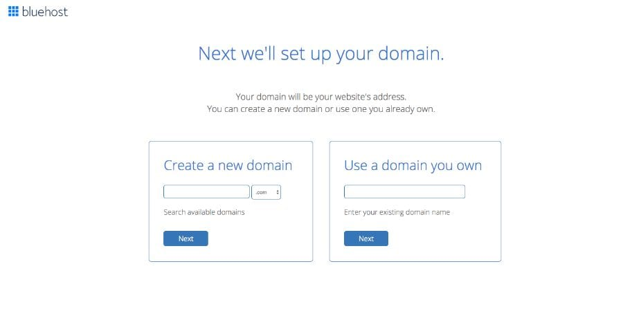 Bluehost - Select a Domain