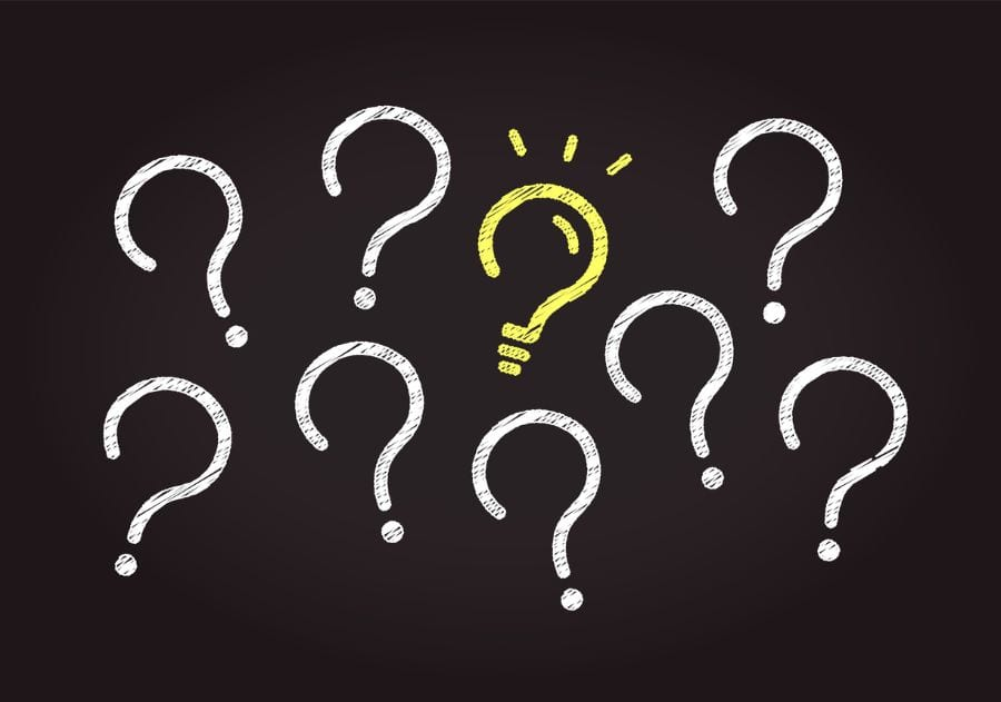 Question Marks with a Light Bulb