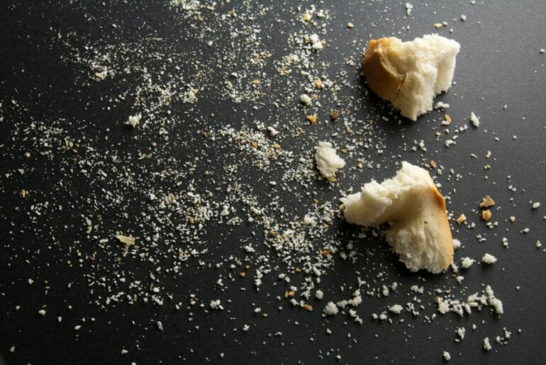 Breadcrumbs on a Black Background