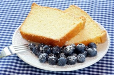 Pound Cake and Blueberries