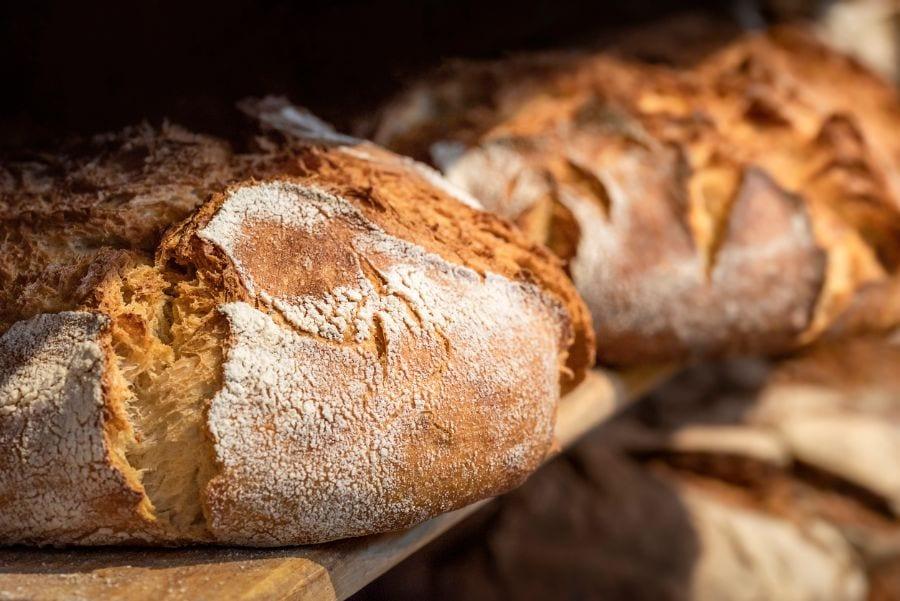 Sourdough Bread on a Wooden Shelf