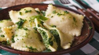 Freshly Cooked Spinach and Cheese Ravioli