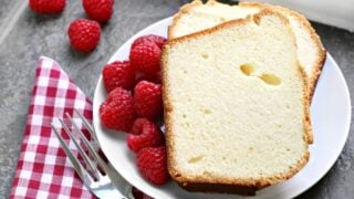 Two Slices of Fresh Pound Cake With Raspberries
